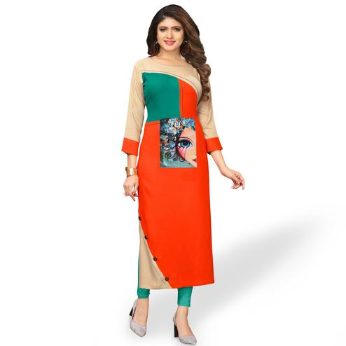 Blooming Orange Colored Party Wear Printed Rayon Kurti