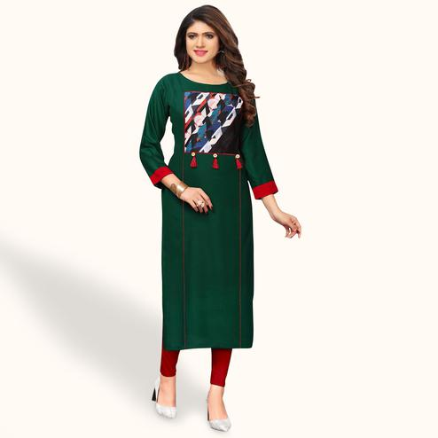Charming Dark Green Colored Party Wear Printed Rayon Kurti