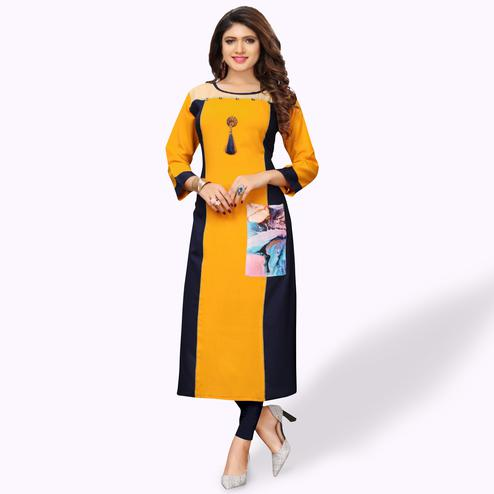 Classy Yellow Colored Party Wear Printed Rayon Kurti