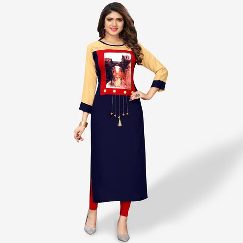 Delightful Navy Blue Colored Party Wear Printed Rayon Kurti
