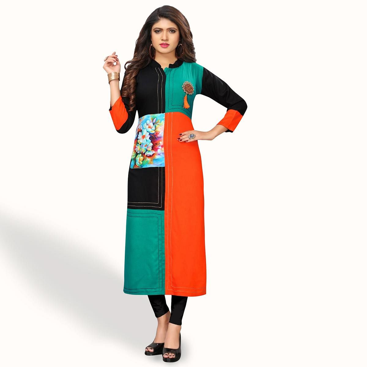 Engrossing Multi Colored Party Wear Printed Rayon Kurti