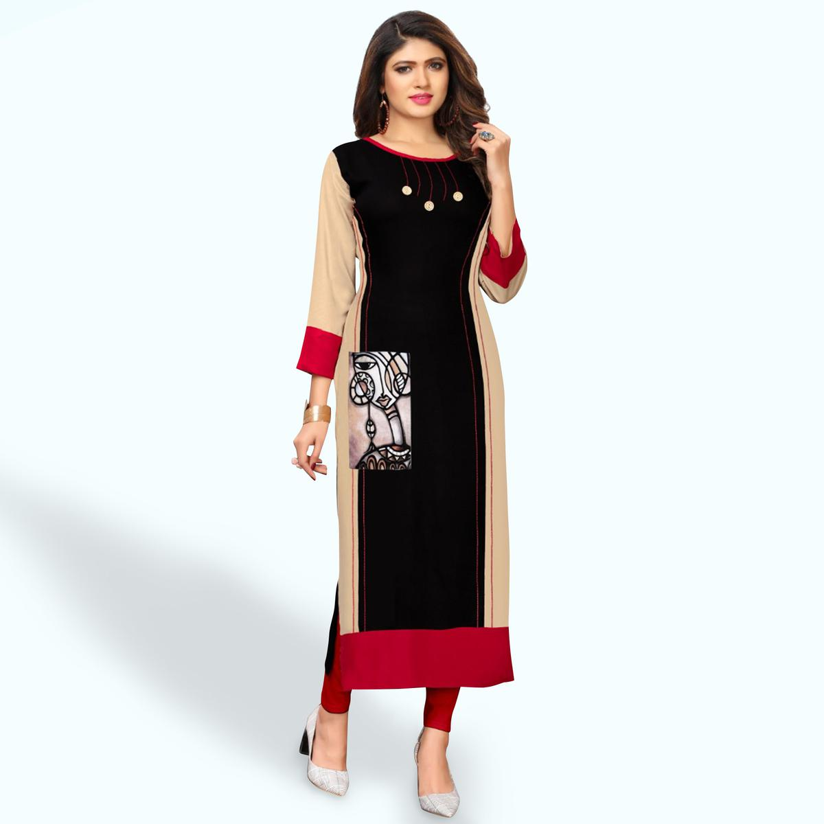Entrancing Black-Beige Colored Party Wear Printed Rayon Kurti