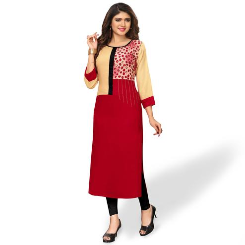 Exotic Red-Beige Colored Party Wear Printed Rayon Kurti