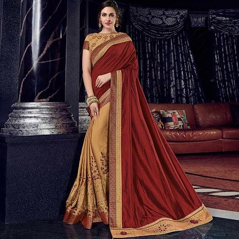 Hypnotic Maroon And Gold Colored Embroidered Party Wear Raw Silk-Georgette Saree