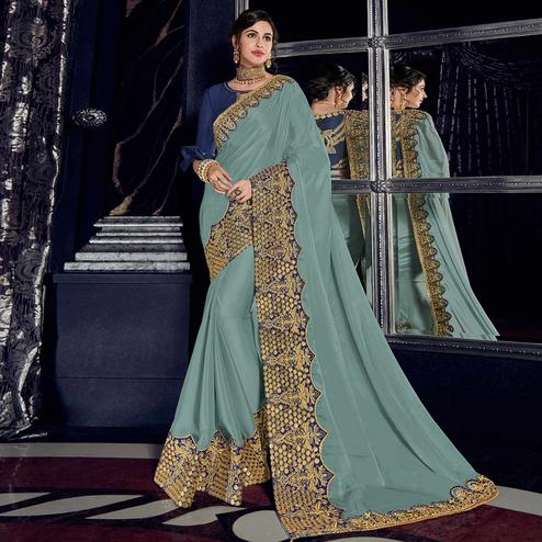 Elegant Bluish Grey Colored Embroidered Party Wear Georgette Saree