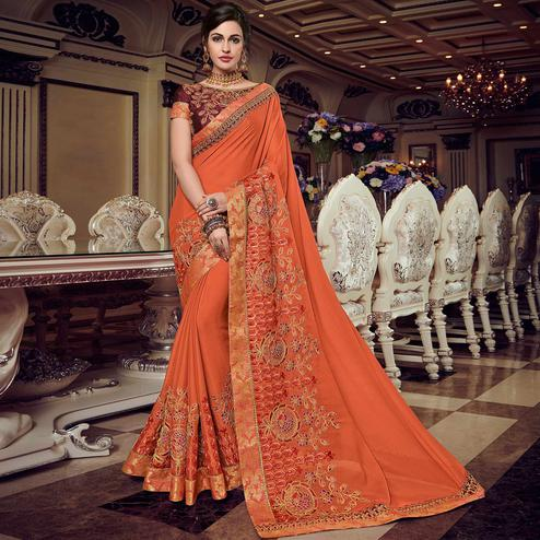 Excellent Orange Colored Embroidered Party Wear Georgette Saree