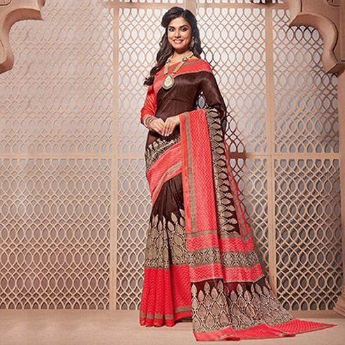 Brown - Pink Casual Wear Saree