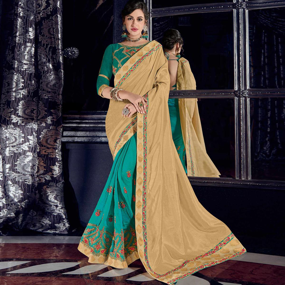 Breathtaking Beige And Cyan Colored Embroidered Party Wear Raw Silk Saree