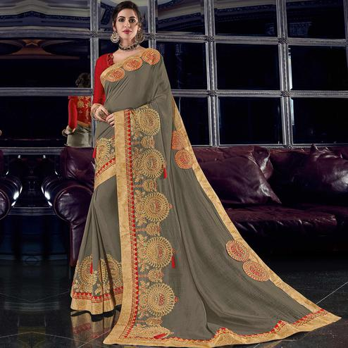 Impressive Grey Colored Embroidered Party Wear Silk Saree