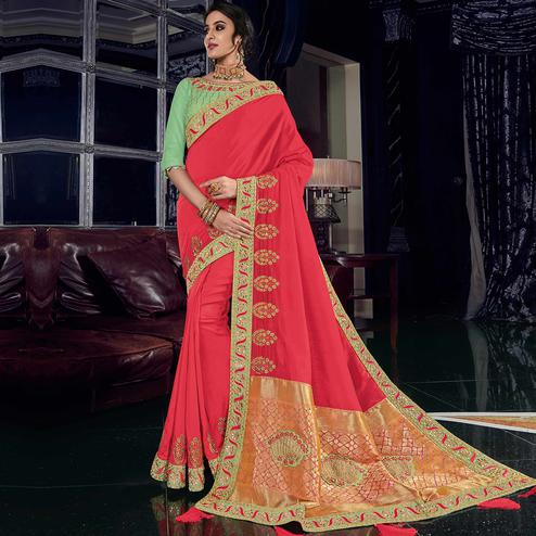 Flamboyant Pink Colored Embroidered Party Wear Silk Saree