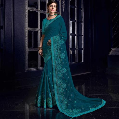 Ethnic Peacock Blue Colored Embroidered Party Wear Silk Saree