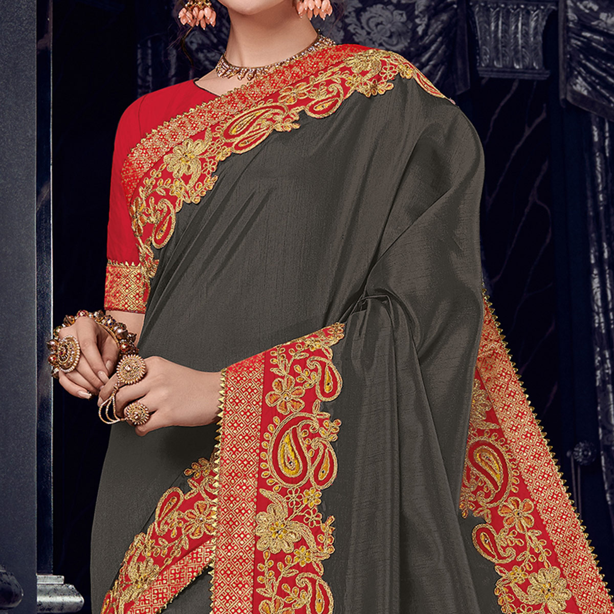 Alluring Blackish Grey Colored Embroidered Party Wear Silk Saree