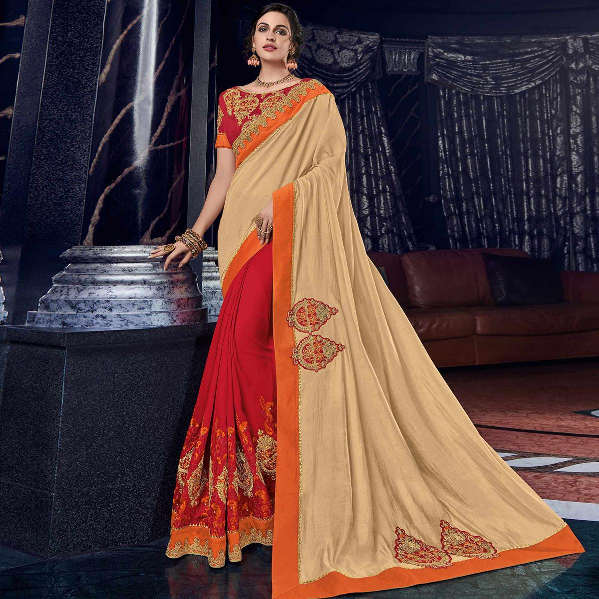 Sensational Beige And Red Colored Embroidered Party Wear Silk Saree