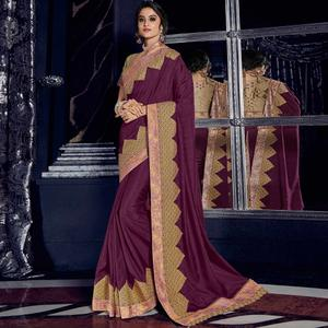 Flaunt Wine Colored Embroidered Party Wear Silk Saree