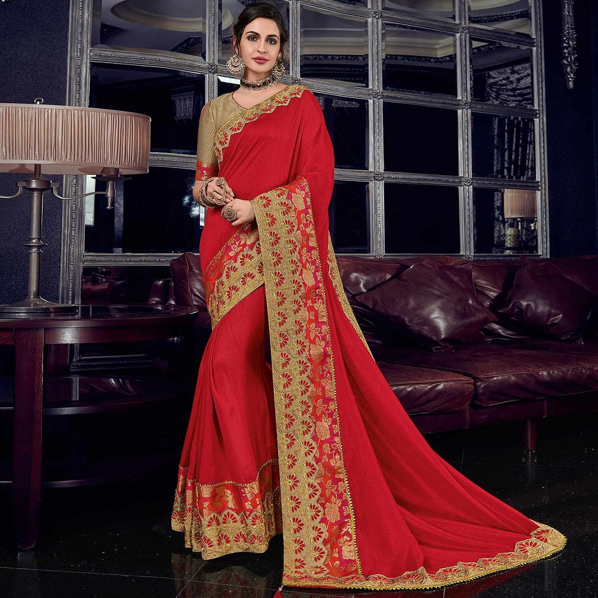 Dazzling Red Colored Embroidered Party Wear Silk Saree