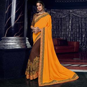 Flirty Orange And Brown Colored Embroidered Party Wear Raw Silk Saree