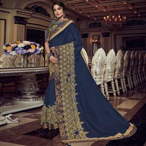 Jazzy Navy Blue Colored Embroidered Party Wear Silk Saree