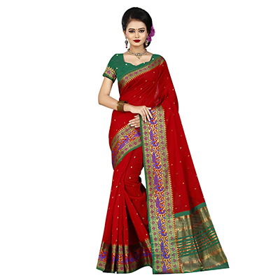 Hot Red Designer Festive Wear Woven Silk Saree