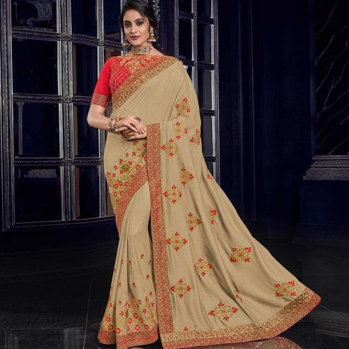 Adorning Beige Colored Embroidered Party Wear Silk Saree