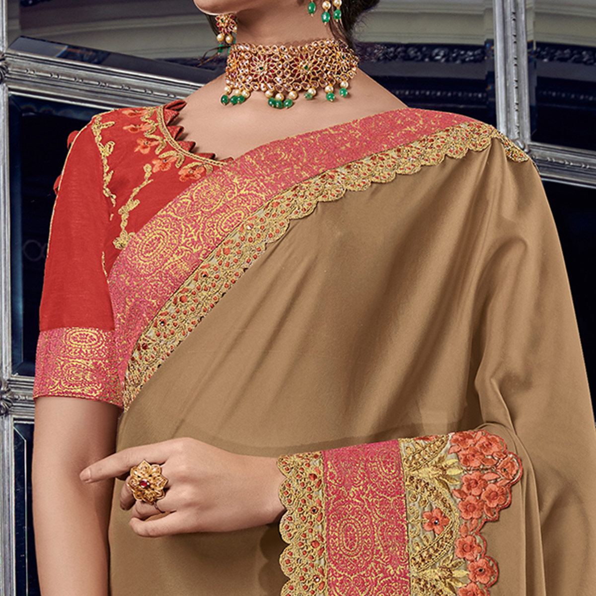 Appealing Beige Colored Embroidered Party Wear Georgette Saree