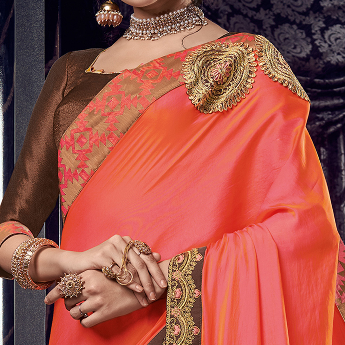 Prominent Brown - Peach Colored Embroidered Party Wear Raw Silk Saree