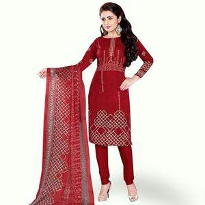Radiant Maroon Colored Casual Wear Printed Crepe Dress Material