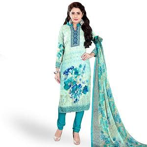 Pleasant Turquoise Colored Casual Wear Printed Crepe Dress Material