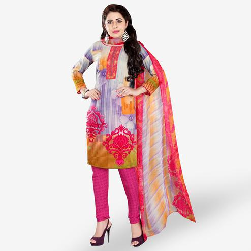 Opulent Multi Colored Casual Wear Printed Crepe Dress Material