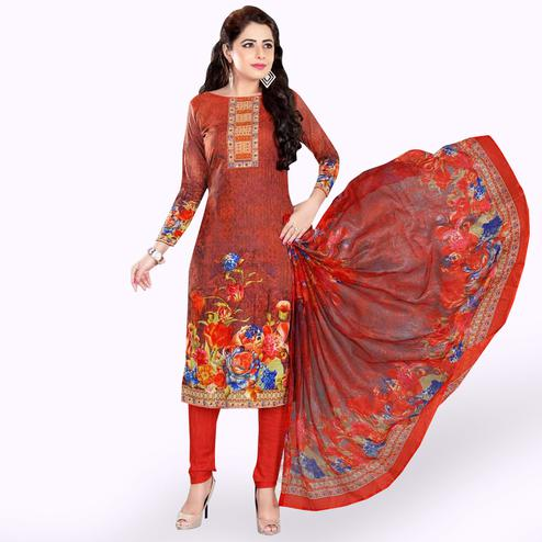 Energetic Rust Red Colored Casual Wear Printed Crepe Dress Material