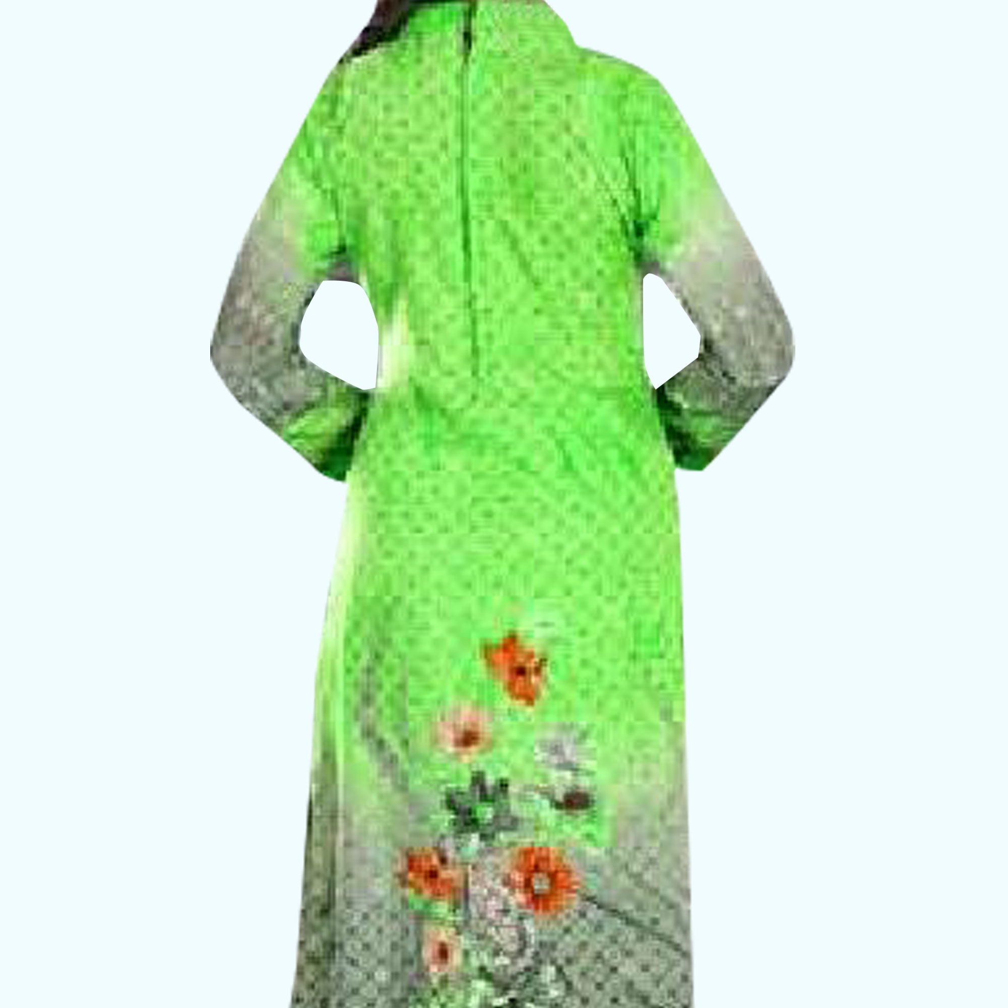 Glowing Green Colored Casual Wear Printed Crepe Dress Material