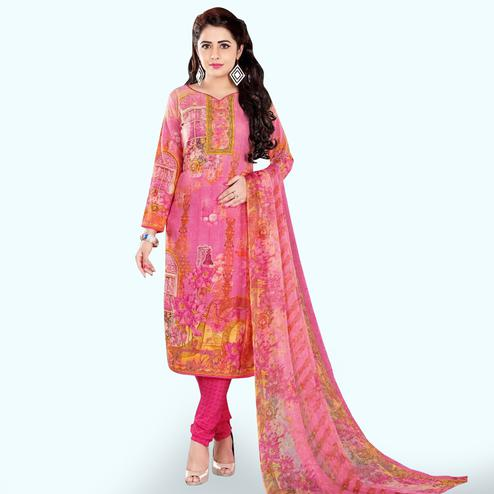 Gleaming Pink Colored Casual Wear Printed Crepe Dress Material