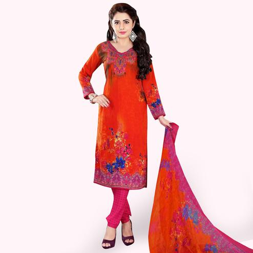 Mesmeric Orange Colored Casual Wear Printed Crepe Dress Material