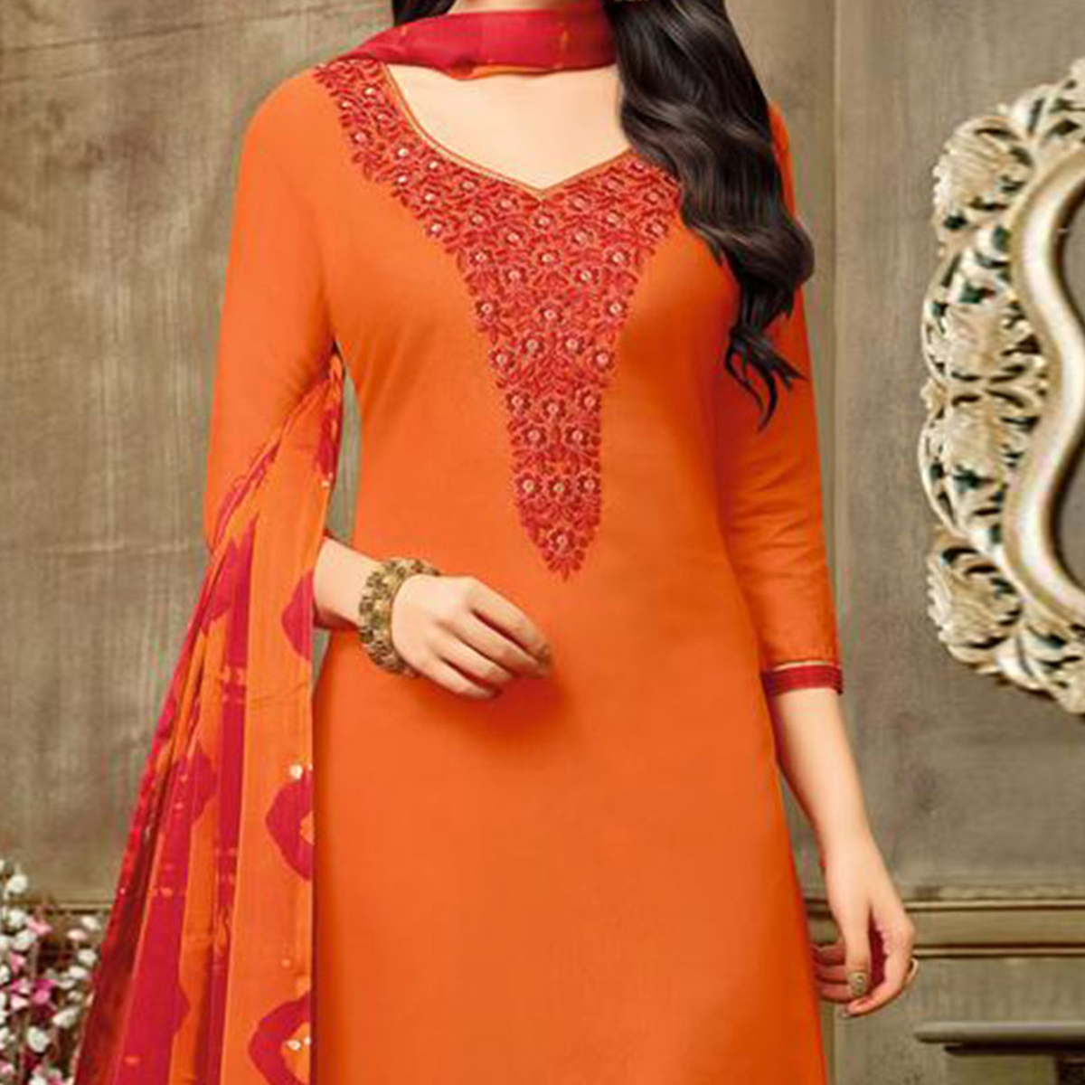 Desirable Orange Chanderi Salwar Suit