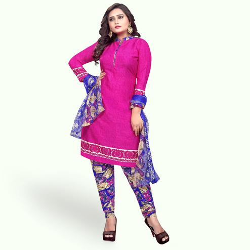 Entrancing Magenta Pink Colored Casual Wear Printed Crepe Dress Material