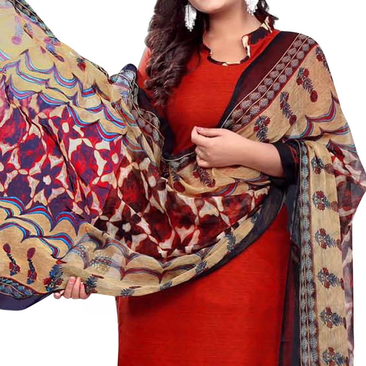 Fantastic Red Colored Casual Wear Printed Crepe Dress Material