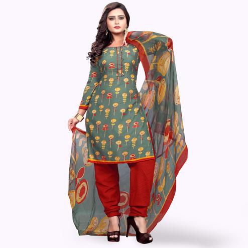 Gorgeous Grey Colored Casual Wear Printed Crepe Dress Material