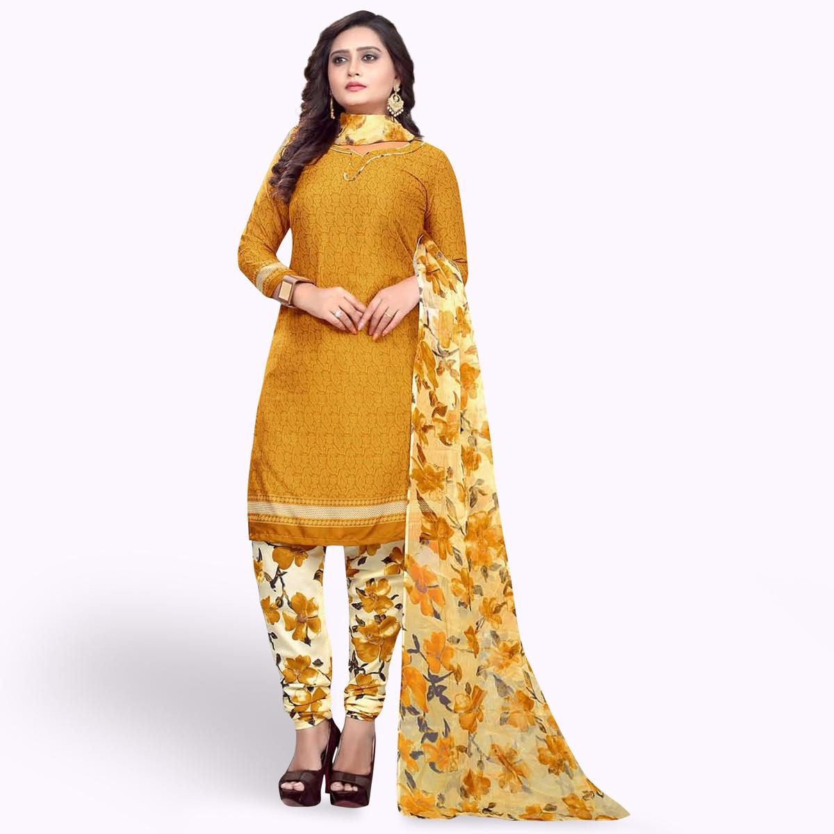 Ideal Mustard Yellow Colored Casual Wear Printed Crepe Dress Material