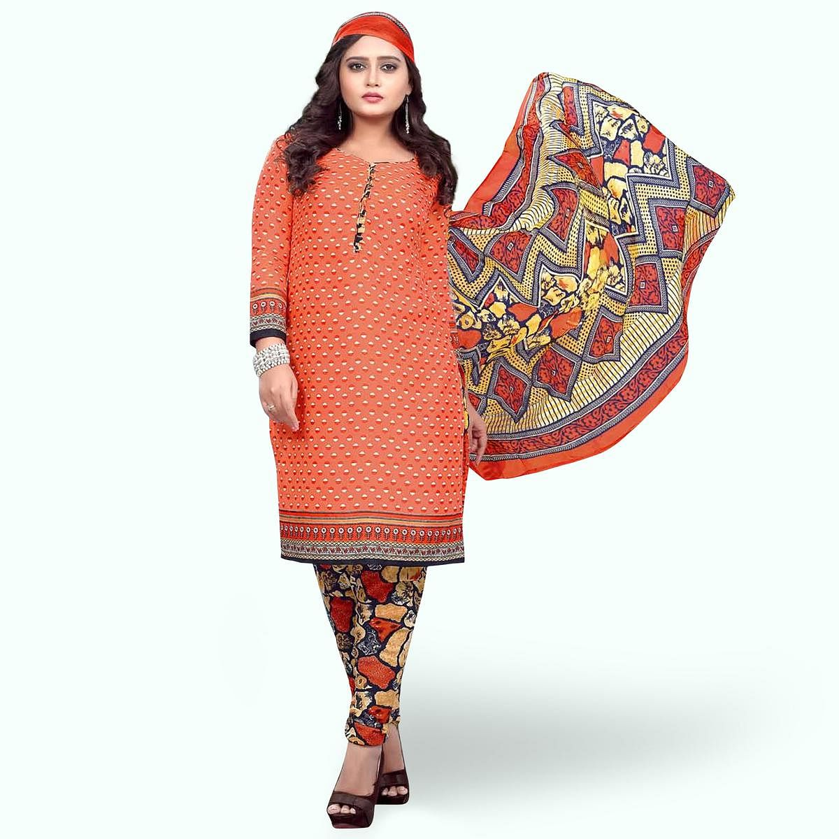 Imposing Peach Colored Casual Wear Printed Crepe Dress Material