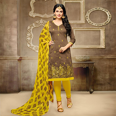 Delightful Brown Chanderi Salwar Suit