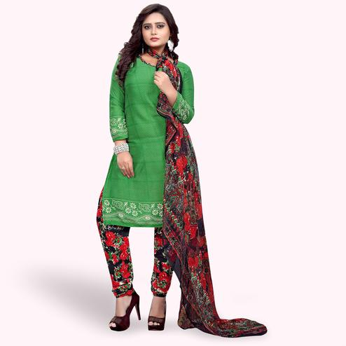 Lovely Green Colored Casual Wear Printed Crepe Dress Material