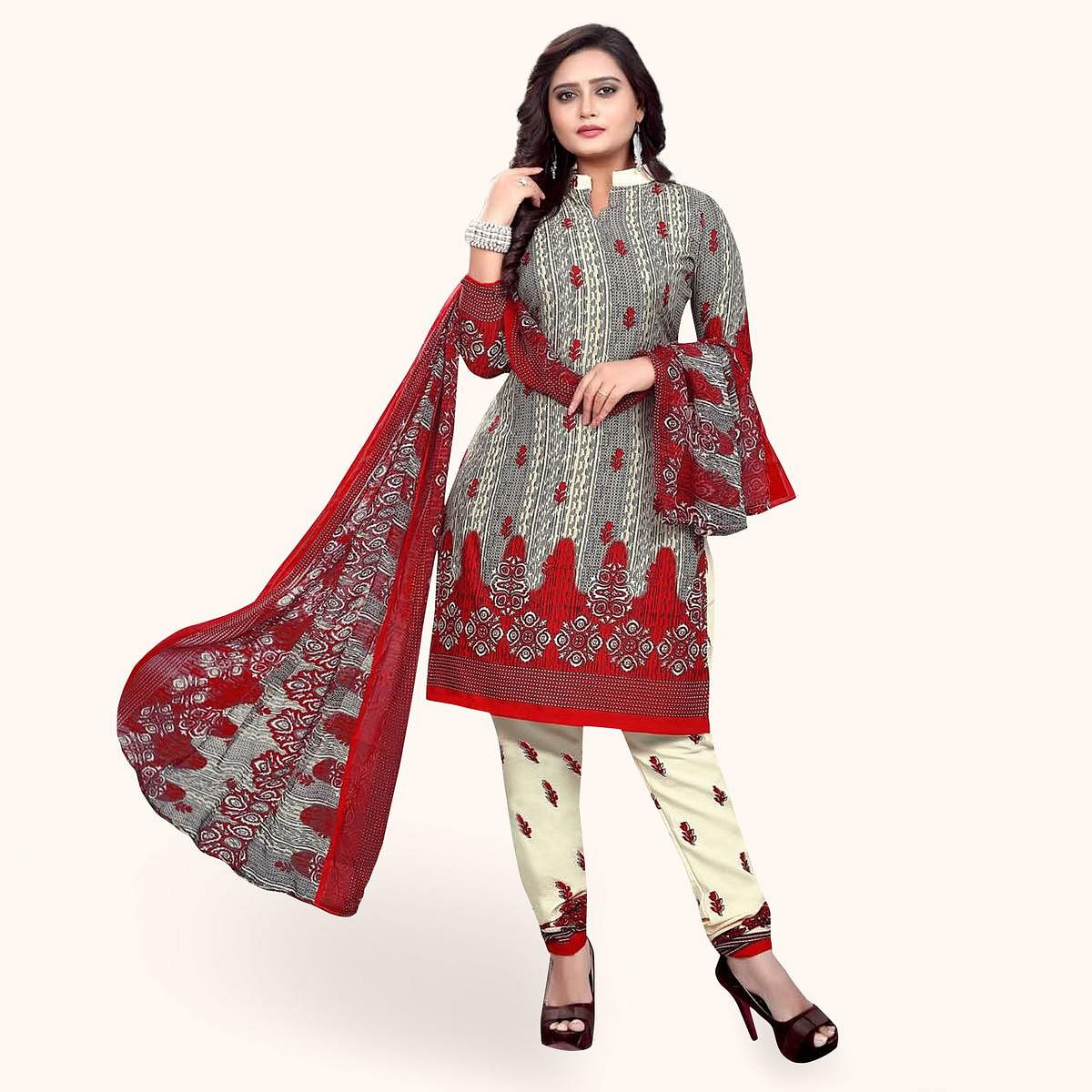 Majesty Grey Colored Casual Wear Printed Crepe Dress Material