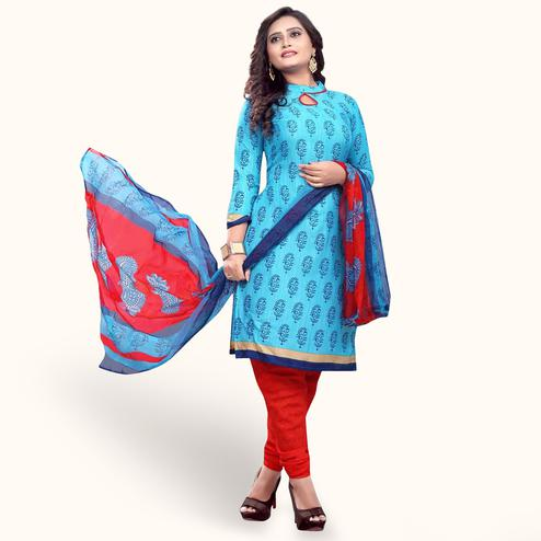 Marvellous Sky Blue Colored Casual Wear Printed Crepe Dress Material