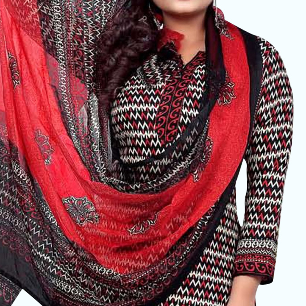 Mesmerising Black-Red Colored Casual Wear Printed Crepe Dress Material