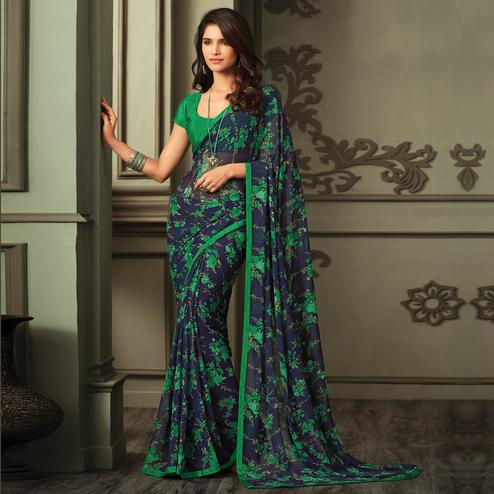 Demanding Navy Blue-Green Colored Casual Printed Georgette Saree