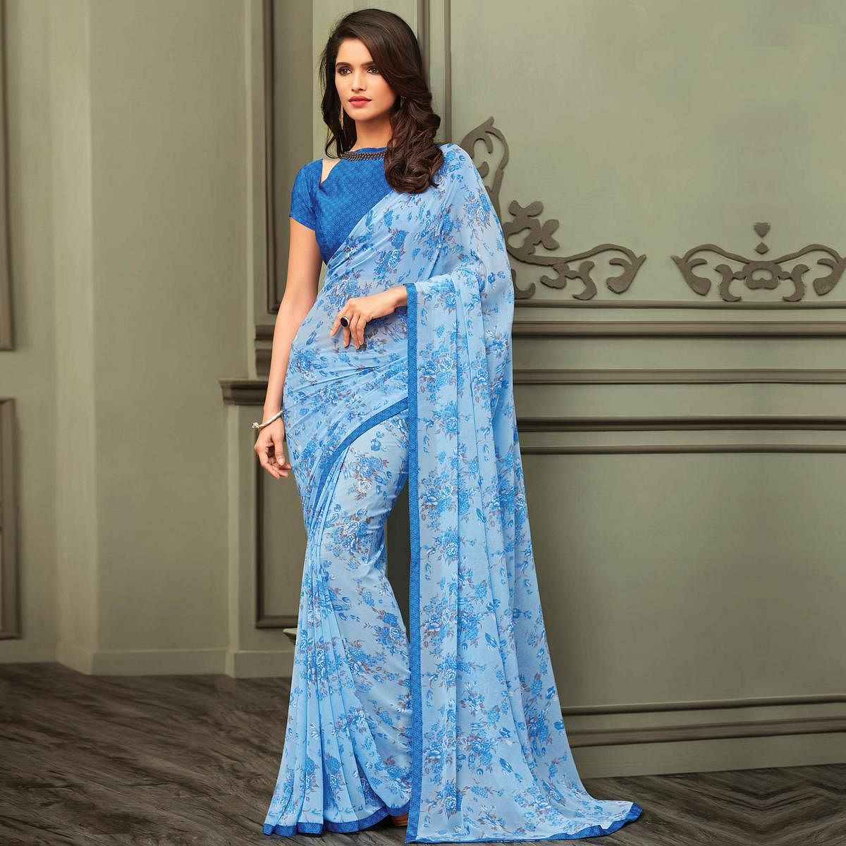 Desiring Pastel Blue Colored Casual Printed Georgette Saree