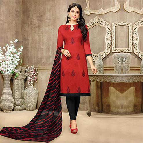 Hot Red Chanderi Salwar Suit