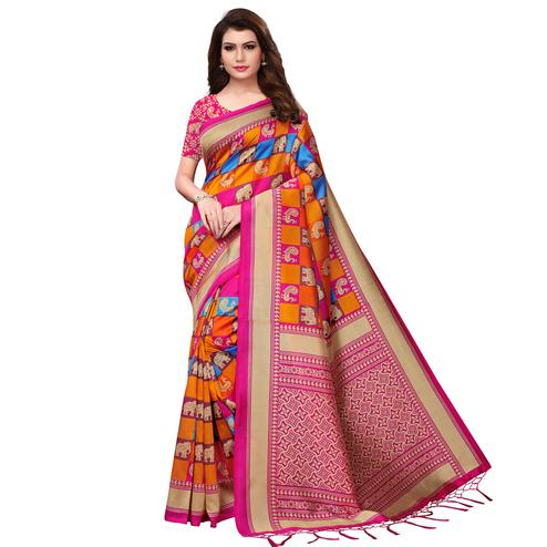 Beautiful Multi-Pink Colored Festive Wear Woven Mysore Silk Saree