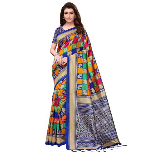 Blissful Multi-Blue Colored Festive Wear Woven Mysore Silk Saree