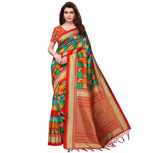 Blooming Multi-Red Colored Festive Wear Woven Mysore Silk Saree