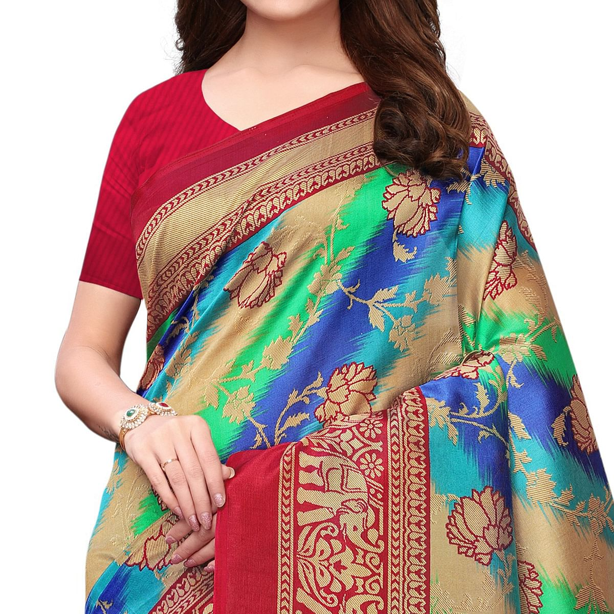 Charming Multi-Magenta Pink Colored Festive Wear Woven Mysore Silk Saree